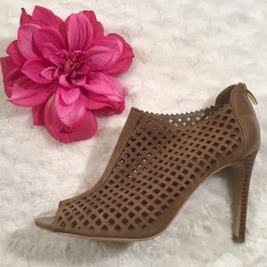 Marc Fisher Perforated Heeled Open Toe Booties